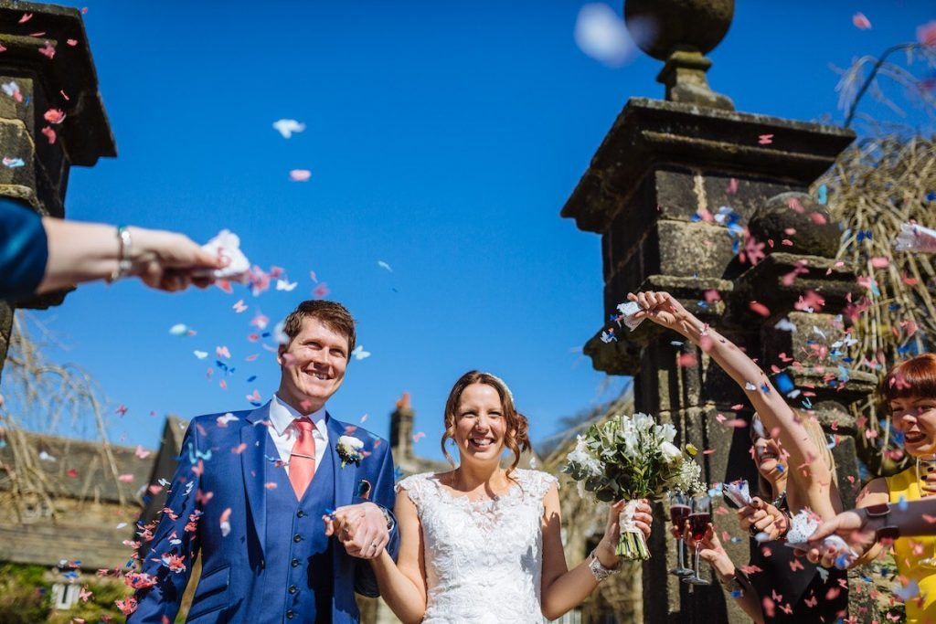 Holdsworth House summer wedding venue in West Yorkshire confetti image by James and Lianne Wedding Photography