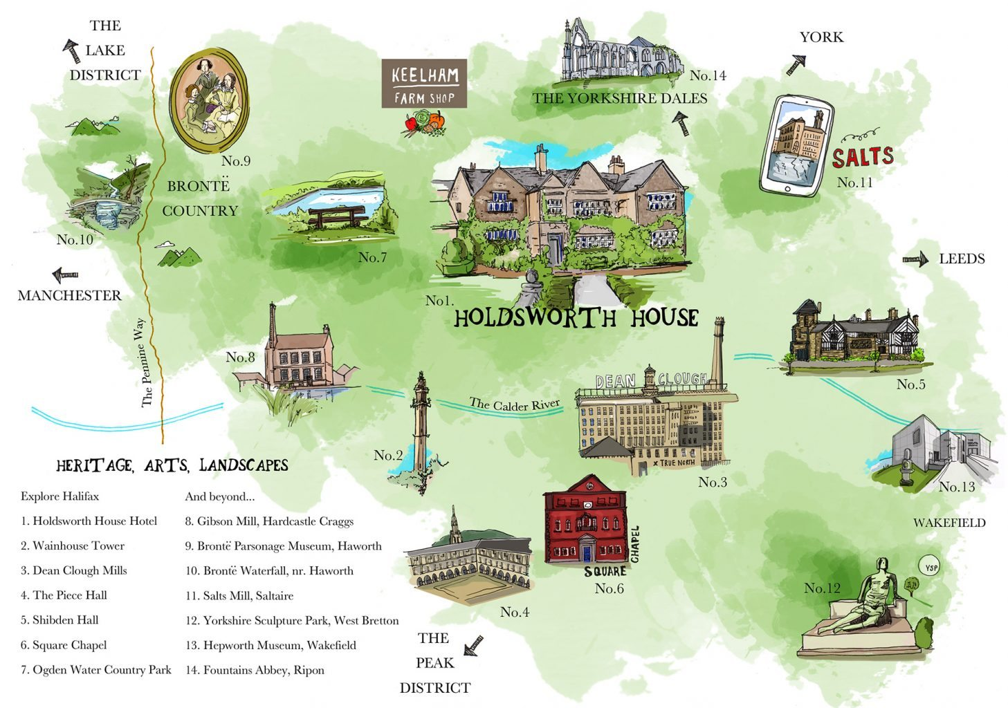 Map of local attractions near Holdsworth House hotel West Yorkshire
