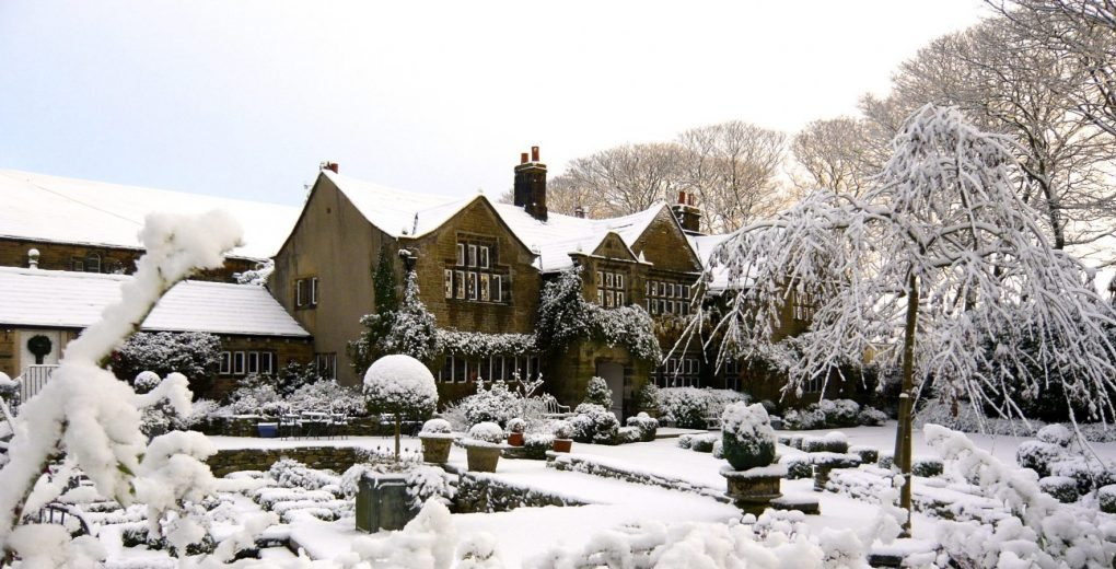 Snowy exterior of Holdsworth house