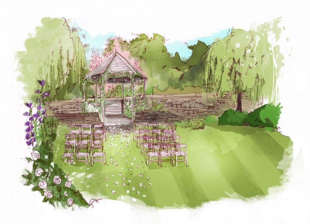 Proposed outdoor wedding site at Holdsworth House Halifax