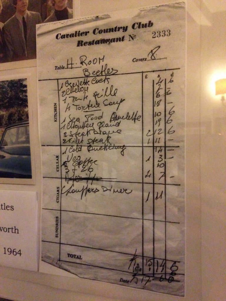 The Beatles room service bill at Holdsworth House hotel West Yorkshire