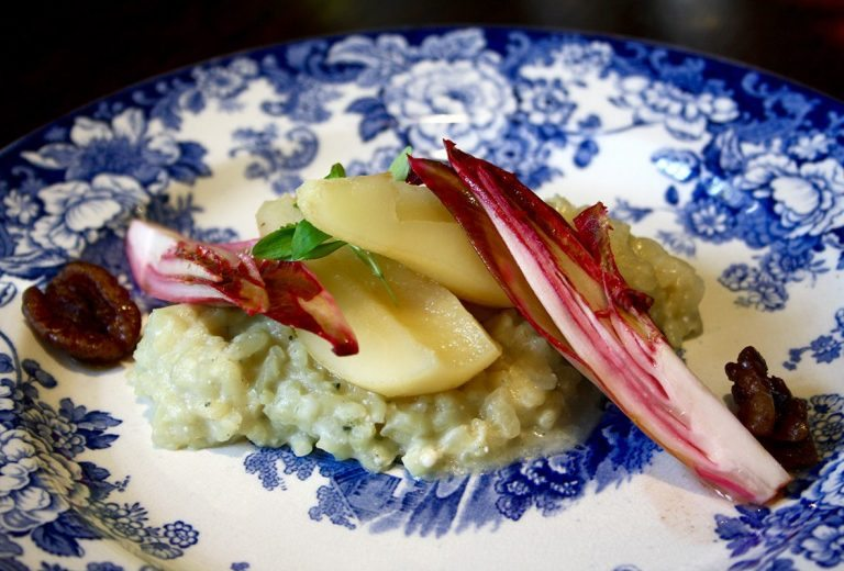 Holdsworth House hotel in West Yorkshire restaurant dish blue plate risotto