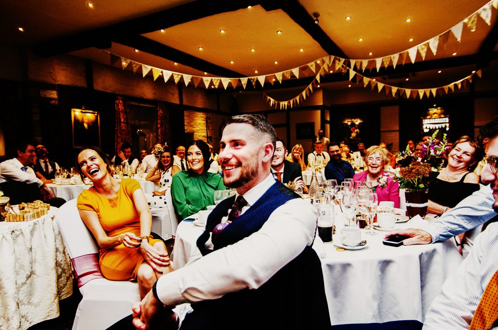 Holdsworth House wedding reception laughing