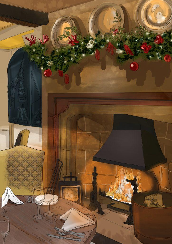 Restaurant illustration Christmas
