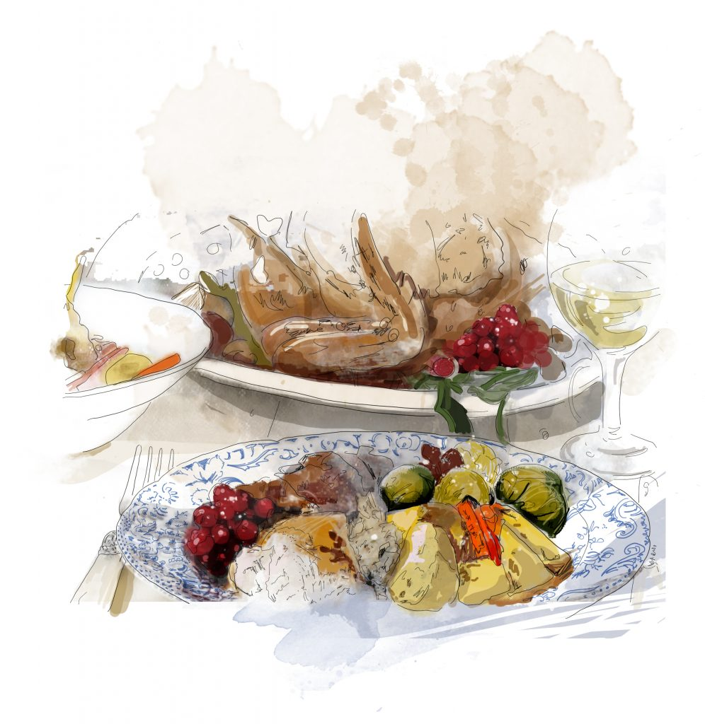 Christmas Day lunch illustration