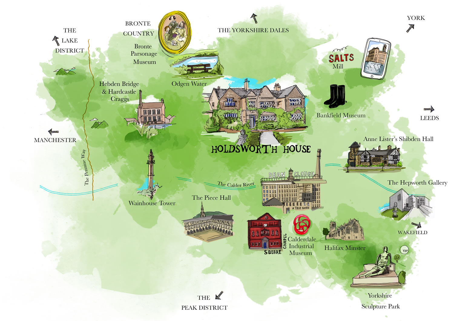 map of halifax showing holdsworth house and other attractions