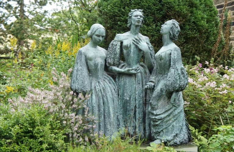 Bronte Parsonage Museum statue of the Bronte Sisters