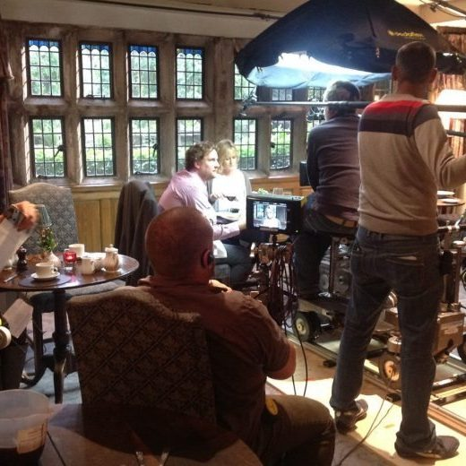 Filming of Last Tango in Halifax series two in the Mullioned Room