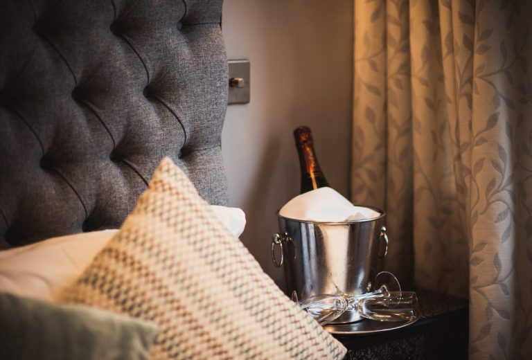Holdsworth House romantic hotel in West Yorkshire bedroom and champagne