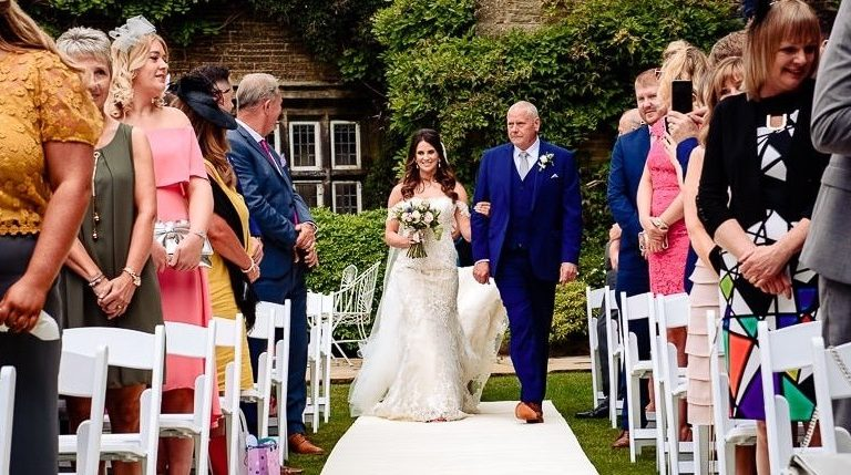 outdoor wedding ceremony halifax holdsworth house