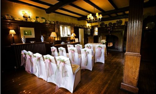 Wedding in the Hall with chair covers at Holdsworth House Gary Micklethwaite Photography